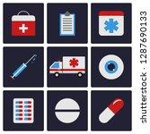 medicine flat icons set....