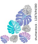 vector tropical pattern with... | Shutterstock .eps vector #1287696580