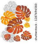 vector tropical pattern with... | Shutterstock .eps vector #1287696583