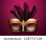 glamorous mask with feathers in ... | Shutterstock .eps vector #1287717130