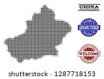 welcome collage of halftone map ... | Shutterstock .eps vector #1287718153