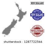 welcome combination of halftone ... | Shutterstock .eps vector #1287722566