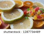 colorful fresh citrus fruit... | Shutterstock . vector #1287736489