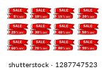 set of red sale icon banners in ...   Shutterstock .eps vector #1287747523