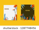 tropical colorful black paper... | Shutterstock .eps vector #1287748456