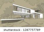 3d rendering sketch of modern... | Shutterstock . vector #1287757789