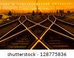 Cargo Train Platform At Sunset...