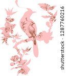 bird and branch in chinoiserie  ... | Shutterstock .eps vector #1287760216