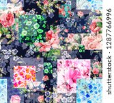 seamless watercolor patchwork... | Shutterstock . vector #1287766996