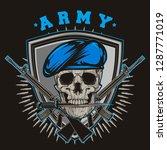 millitary skull army vector | Shutterstock .eps vector #1287771019