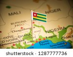 togo marked with a flag on the... | Shutterstock . vector #1287777736