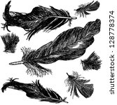black feathers | Shutterstock .eps vector #128778374