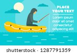 man fishing in rubber boat... | Shutterstock .eps vector #1287791359