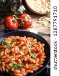 cavatelli pasta with fresh... | Shutterstock . vector #1287791710