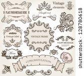 vector set  calligraphic design ... | Shutterstock .eps vector #128780618