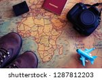 travel flatlay  action camera ... | Shutterstock . vector #1287812203