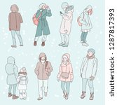 winter characters walking down ...   Shutterstock .eps vector #1287817393