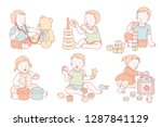 toddlers playing with their own ... | Shutterstock .eps vector #1287841129