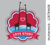 love story sticker badge | Shutterstock .eps vector #128784608