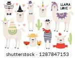 set of cute funny llamas ... | Shutterstock .eps vector #1287847153