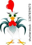 young cock with red scallop and ... | Shutterstock .eps vector #1287859873