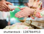 hands pouring blessing water... | Shutterstock . vector #1287864913