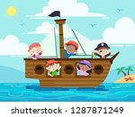 illustration of kids pirate... | Shutterstock .eps vector #1287871249