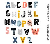decorative alphabet in animal... | Shutterstock .eps vector #1287882283