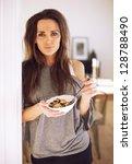 indoor woman looking at you...   Shutterstock . vector #128788490