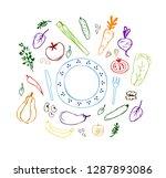 illustration of healthy eating. ... | Shutterstock .eps vector #1287893086