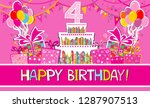 happy birthday card.... | Shutterstock .eps vector #1287907513