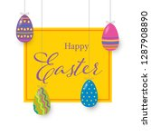 happy easter banner with eggs... | Shutterstock .eps vector #1287908890