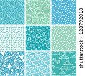 nine baby boy blue seamless... | Shutterstock .eps vector #128792018