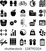 health and wellness icons   Shutterstock .eps vector #128792324