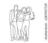people friendship sketch | Shutterstock .eps vector #1287937729
