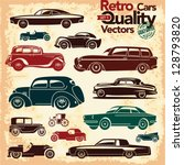 Retro cars icons set 1. Vintage cars vectors.