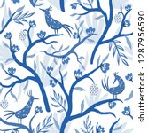 chinoiserie. blue and white... | Shutterstock . vector #1287956590