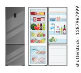 refrigerator open with food and ... | Shutterstock .eps vector #1287967999