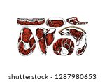 vector card with hand drawn raw ... | Shutterstock .eps vector #1287980653