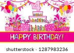happy birthday card.... | Shutterstock .eps vector #1287983236