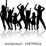 silhouettes of children   Shutterstock .eps vector #128799616