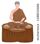 the monk in buddhism meditation ...   Shutterstock .eps vector #1288010686