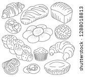 bread  buns and cookies vector... | Shutterstock .eps vector #1288018813