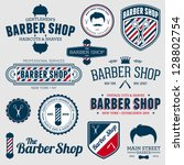 set of vintage barber shop logo ... | Shutterstock .eps vector #128802754
