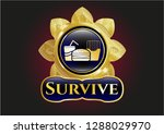 gold badge with fast food icon ... | Shutterstock .eps vector #1288029970