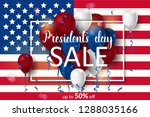 presidents day sale background... | Shutterstock .eps vector #1288035166