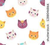 seamless pattern with cat.... | Shutterstock .eps vector #1288046866