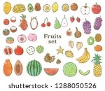 fruits set with watercolor... | Shutterstock .eps vector #1288050526