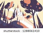old fairytale castle standing... | Shutterstock .eps vector #1288061410