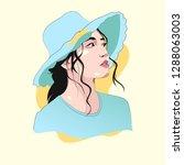 vector girl ilustration | Shutterstock .eps vector #1288063003